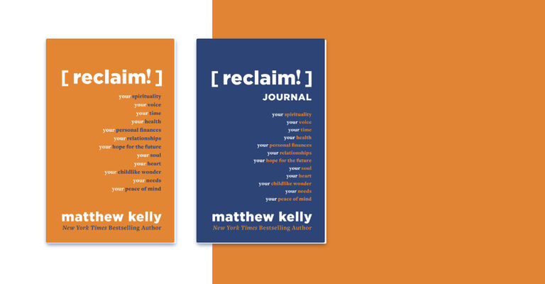 One orange journal and one blue journal both titled reclaim and written by matthew kelly for the catholic virtual event are side by side