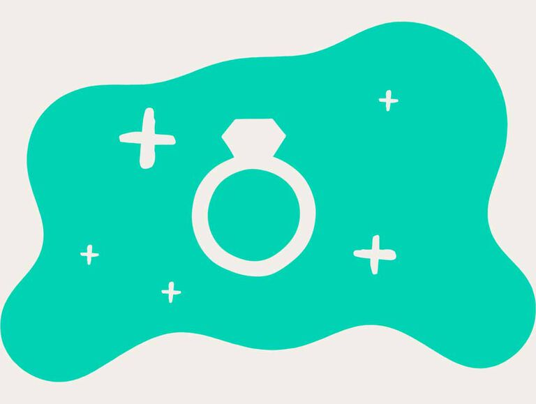 A white outline of an engagement ring is surrounded by white sparkles against an emerald green background