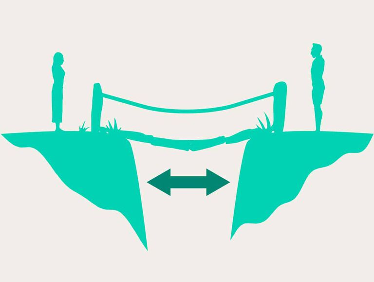 An emerald green icon shows two human figures standing across each other with a bridge in between them and a darker green double sided arrow sits below the bridge